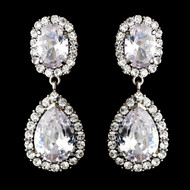Stunning Silver Plated CZ Clip On Wedding Earrings