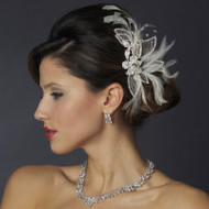 White Feather and Rhinestone Wedding Hair Comb - sale!