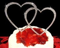 Large Swarovski Crystal Double Hearts Cake Topper - Silver or Gold!