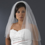 Sparkling AB Crystal Edge 2 Layer Fingertip Length Veil