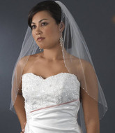 AB Crystal Edged Elbow Length Wedding Veil
