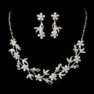 Silver Plated Crystal Floral Vine Bridal Jewelry Set