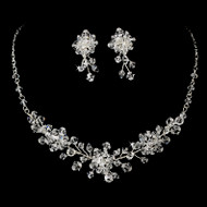 Floral  Bridal Jewelry Set with Swarovski Crystals