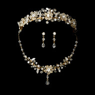 Crystal Floral Gold Plated Wedding Tiara and Jewelry Set