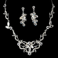 Swirling Vine Necklace and Earring Bridal Jewelry Set