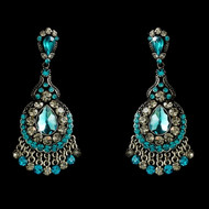 Teal Crystal Chandelier Earrings