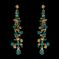 Gold Plated Turquoise Austrian Crystal Drop Earrings