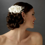 Twin Rose Bridal Hair Flower Wedding Comb