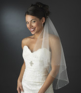 Two Layer Elbow Length Wedding Veil with Rhinestone Trim