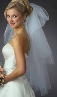 Two Layer Soft Pouff Custom Made Fingertip Wedding Veil