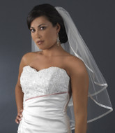 Two Tier Fingertip Ribbon Edge Bridal Veil