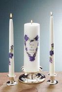 Violet Bouquet Heart Personalized Wedding Unity Candle Set