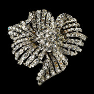 Vintage Crystal Floral Bridal Pin Wedding Brooch
