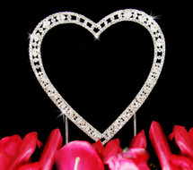 Vintage Elegance Small Single Heart Wedding Cake Topper