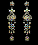"Vintage Look 4"" AB Crystal Chandelier Bridal Earrings"