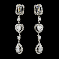 Romantic Vintage Inspired CZ Heart Wedding Earrings