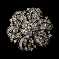Vintage Inspired Rhodium Plated Bridal Brooch