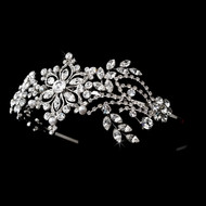 Vintage Inspired Rhinestone and Pearl Floral Headband