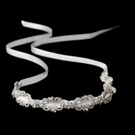 Vintage Inspired Satin Ribbon Rhinestone Bridal Headband - sale!