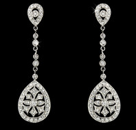 Vintage Look CZ Bridal Drop Earrings