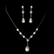 Vintage Look White Pearl and Crystal Bridal Jewelry Set