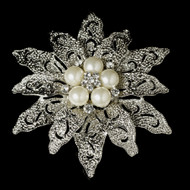 Vintage Look Pearl Bridal Brooch