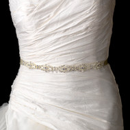 Vintage Look Wedding Dress Ribbon Belt with Rhinestones