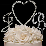 Crystal Heart and Initials Wedding Cake Topper