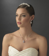 Wedding Tiara Comb and CZ Jewelry Set
