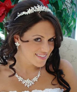 White and Silver Winter Wonderland Wedding Tiara and Jewelry Set