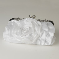 White Floral Rose Wedding Purse with Rhinestones