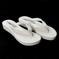 White Low Heel Wedge Bridal Flip Flops with Sequins
