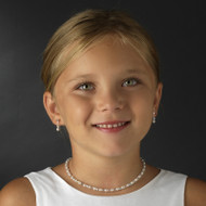 White Pearl and AB Crystal Flower Girl Jewelry Set