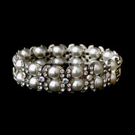 White Pearl and AB Rhinestone Stretch Bridal Bracelet