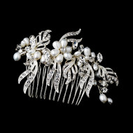 White Pearl and Crystal Bridal Hair Comb