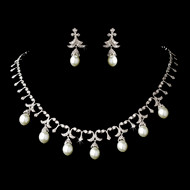 White Pearl and Cubic Zirconia Vintage Look Wedding Jewelry Set