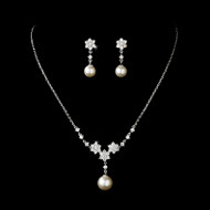 Pearl and Cubic Zirconia (CZ) Bridal Jewelry Set