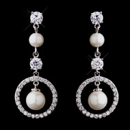 White Pearl and CZ Bridal Wedding Earrings