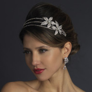 White Pearl and Rhinestone Side Accent Wedding Headband