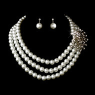 White Pearl and Rhinestone Brooch Bridal Jewelry Set