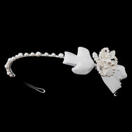 White or Ivory Pearl Side Accent Flower Girl Headband