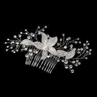 Rhinestone Floral Sprig Wedding Hair Comb