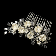 Chic Porcelain Flower and Crystal Wedding Hair Comb