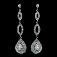 Antique Rhodium Silver CZ Teardrop Pave Drop Earrings