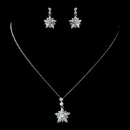 CZ Crystal Snowflake or Flower Wedding Jewelry Set