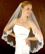 Beaded Alencon Lace Fingertip Length Wedding Veil