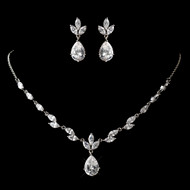 Dainty Rhodium Plated CZ Wedding Jewelry Set  - sale!