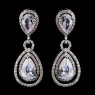 Fabulous CZ Pear Cut Crystal Drop Wedding Earrings