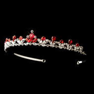 Red Rhinestone Princess Wedding and Quinceanera Tiara