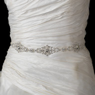 Dazzling Rhinestone Wedding Dress Belt with Ribbon